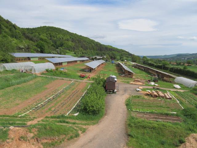 5 Reihen Solardach mit 15 Stalleinheiten für jeweils 100 Hennen